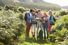 Group Of Young People On Camping Trip In Countryside Royalty Free Stock Photos