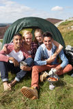 Group Of Young People On Camping Trip In Countryside Stock Images