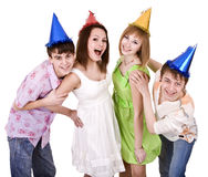 Group of young people celebrate birthday. Stock Photos