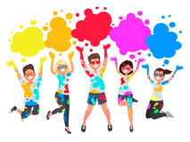 Group of young people celebrates Noli. Men and women throw color Royalty Free Stock Photography