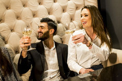 Group of young people celebrating and toasting with white wine Royalty Free Stock Images