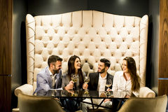 Group of young people celebrating and toasting with white wine Stock Photography
