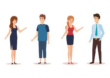 Group of young people characters vector illustration