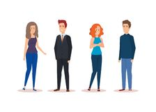 Group of young people characters royalty free illustration