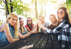 Group of young people cheering, having fun Stock Image