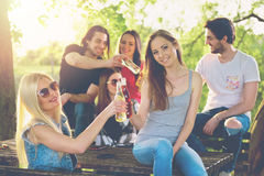 Group of young people cheering, having fun Royalty Free Stock Photo