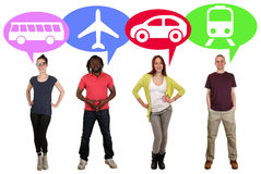 Group of young people choosing bus, train, car or plane Royalty Free Stock Images