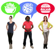 Group of young people choosing food pizza, salad or hamburger Royalty Free Stock Images