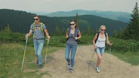 A group of young people climb a mountain. Friends on a hike stock video