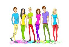 Group of young people, colorful clothes man and Stock Photo