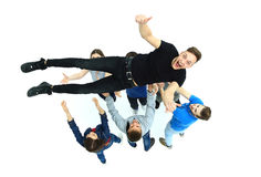Group of young people congratulating stock photos