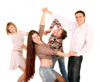 Group of young people dance. Royalty Free Stock Images