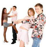 Group of young people dance. Royalty Free Stock Photos