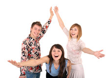 Group of young people dance. Royalty Free Stock Image