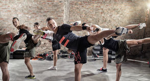 Group of young people doing kick box exercise. Expressing aggression royalty free stock image