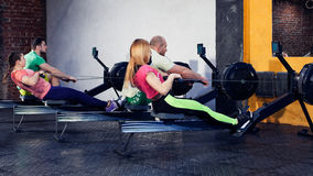 Group young people are doing workout Stock Images
