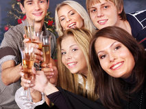 Group young people drink champagne. Stock Photography