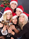 Group young people drink champagne. Stock Photos