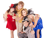 Group young people drinking champagne. Stock Photography