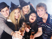 Group young people drinking champagne. Royalty Free Stock Image