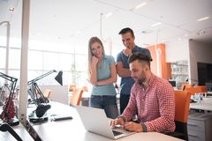 Group of young people employee workers with computer royalty free stock photos