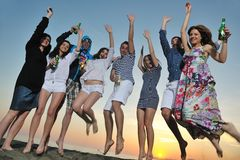 Group of young people enjoy at the beach royalty free stock images