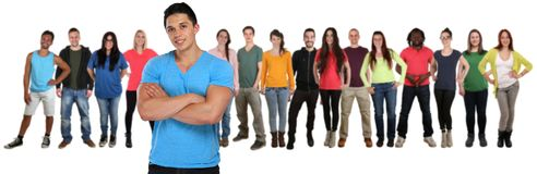 Group of young people friends team with crossed arms isolated on Stock Image