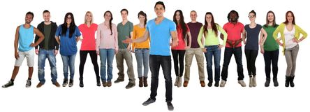 Group of young people friends welcome inviting invitation standi Stock Images