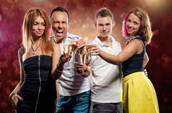 Group of young people with glasses of champagne Royalty Free Stock Photography