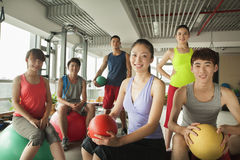 Group of young people in the gym, portrait Royalty Free Stock Images