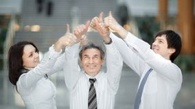 Group of young people hands with thumbs up together expressing positivity, teamwork concepts. stock photos