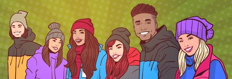 Group Of Young People Happy Smiling Mix Race In Winter Clothes Over Colorful Retro Style Background Horizontal. Banner Vector Illustration Stock Photo