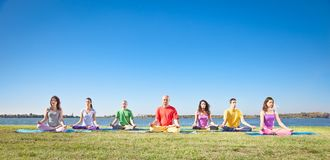 Group of young people have meditation Stock Photos