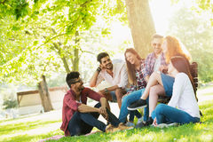 Group of young people having fun outdoors Stock Images