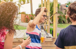 Group of young people having fun in summer party Stock Image
