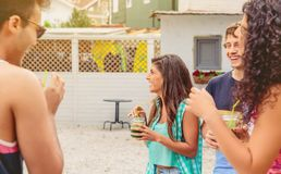 Group of young people having fun in summer party royalty free stock image