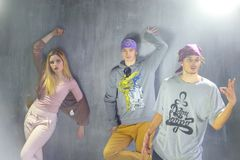 Group of young people are hip hop dancing. Stock Images