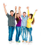 Group of young people holding hands Stock Photo