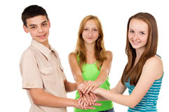A group of young people holding hands Royalty Free Stock Photography