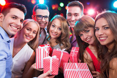 Group of young people with holiday gifts Stock Photography