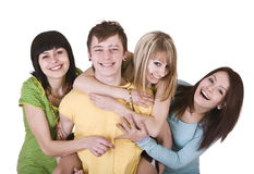 Group of young people. Isolated. Stock Photography