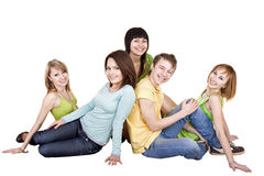 Group of young people. Isolated. Royalty Free Stock Photo