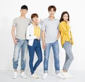 Group of young people,  on white royalty free stock image
