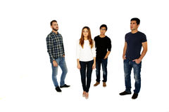 Group of a young people. Isolated on a white background Royalty Free Stock Images