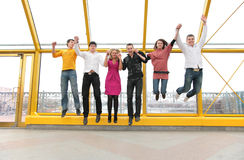 Group of young people jump Stock Images