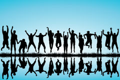 Group of young people jumping Royalty Free Stock Images