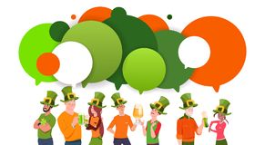 Group Of Young People In Leprechaun Hats Over Chat Bubbles Background Celebrate Saint Patrick Day. Flat Vector Illustration Stock Photos