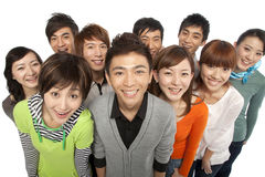 A group of young people looking up in excitement Stock Photo