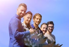 Group of young people with modern smartphones. Communication concept Stock Photo