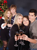 Group young people at nightclub. Royalty Free Stock Photos